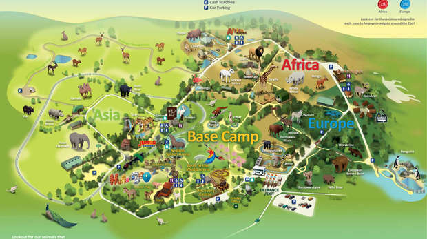 Map of ZSL Whipsnade Zoo 2014