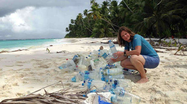 Heather Koldewey with the plastic found washed up on a Chagos beach
